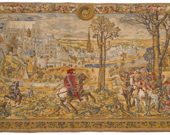 Belgian Tapestry Wall Hanging - Brussels Scene Hunting Wall Tapestry - Museum Wall Decor - Renaissance wall art - Maximilian