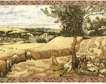 Wall Hanging Tapestry The Harvesters -  25x43 Belgian Wall Hanging Tapestry - Tapestry Wall Decor - Bruegel Tapestry Decor - Fine Arts Decor