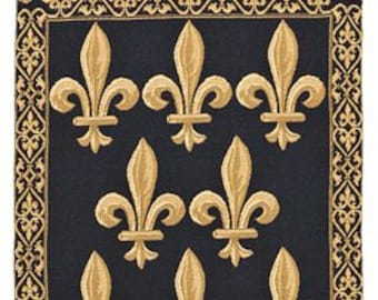 "belgian gobelin blue chenille wall tapestry hanging Fleur de Lys with loops jacquard woven 30""x21"""