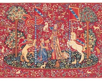Medieval Tapestry Wall Hanging - Unicorn Wall Hanging Tapestry - Red Wall Hanging - Medieval Wall Decor - Woven Tapestry Wall Hanging