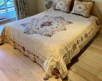Tapestry Bedspread Aubusson - Bed Coverlet and Shams - Tapestry Bed Throw - Sofa Throw - Sofa Coverlet - Tapestry Throw Blanket - Queen Size