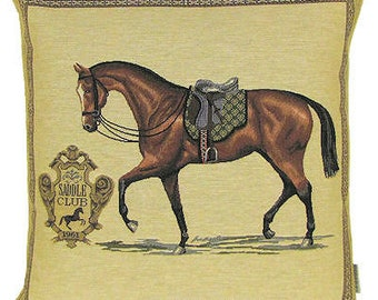 Racing Horse Pillow Cover- Horse Throw Pillow - Horse Lover Gift - Horse Pillow Case - 18x18 Belgian Tapestry Pillow Cover - PC-4922