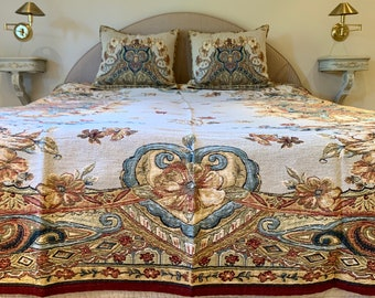 Tapestry Bedspread Palazzo - Bed Coverlet and Shams - Tapestry Bed Throw - Sofa Throw - Sofa Coverlet - Tapestry Throw Blanket - Queen Size