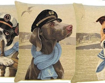 Set of 3 Nautical Dog Pillow Covers - French Bulldog, Weimaraner, Jack Russell Belgian Tapestry Cushion Cover Set 18x18 - PC-5234/3