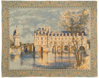 Tapestry Wall Hanging Chenonceau Castle - French Castle Tapestry Wall Hanging - Loire Castle Decor - French Wall Decor - Louis XIV Castle
