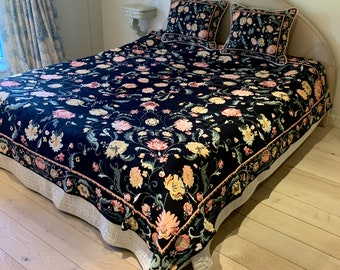Tapestry Bedspread Millefiori - Bed Coverlet and Shams - Tapestry Bed Throw - Sofa Throw - Sofa Coverlet - Tapestry Throw Blanket- Bedcover