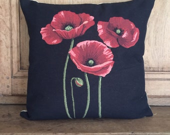 belgian tapestry gobelin throw pillow cushion cover 3 poppies on black background