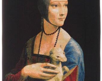 belgian wall tapestry hanging wall decor gobelin Lady with an Ermine portrait by Leonardo da Vinci