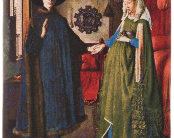 Van Eyck Painting Wall Decor - Belgian Tapestry Wall Hanging - Arnolfini Portrait - Renaissance Decor - Wall Tapestry Hanging