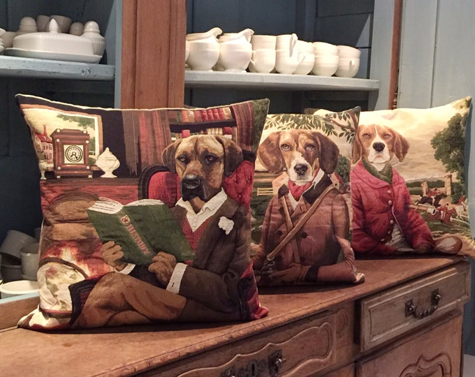 Featured listing image: 3 belgian tapestry gobelin throw pillow cushion covers beagles and rhodesian ridgeback in rustic setting for him