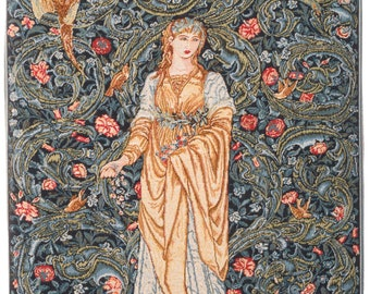 Flora Tapestry Wall Hanging - William Morris Wall Decor - Goddess of Abundance Wall Tapestry Hanging - Belgian Wall Hanging Tapestry