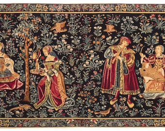 Medieval Tapestry Wall Hanging - Seignorial Scene - Millefleurs motif - Belgian Tapestry - Gobelin Wallhanging
