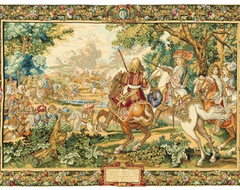 Louis XIV tapestry wall hanging - French Scene Wall Decor - Renaissance Tapestry Art - Unique Wall Hanging - French Royal Scenery