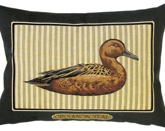 Cinnamon Teal pillow cover - Duck Pillow - Duck Lover Gift - Duck Decor cushion cover - 14x18 belgian tapestry cushion cover - PC-5551