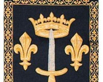 Fleur de Lis Decor - Fleur de Lis Tapestry Wall Hanging - Heraldic Decor - Royal Decor Gift - Blue Wall Hanging Tapestry