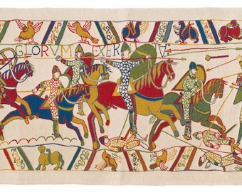 Bayeux Tapestry Wall Hanging - Medieval Wall Tapestry - Medieval Decor - Bayeux fragment tapestry - Medieval Arts Decor