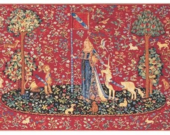 Wall Hanging Tapestry - Unicorn Tapestry wall Hanging The Touch - Lion and Unicorn Decor - Unicorn Gift - Red Wall Decor - Tapestry Gift