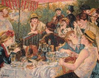 belgian gobelin wall tapestry Déjeuner des Canotiers by Auguste Renoir, jacquard woven
