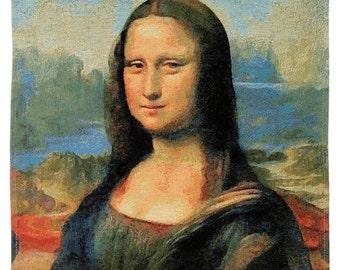 "belgian gobelin wall tapestry hanging Mona Lisa (La gioconda) by Leonardo da Vinci, jacquard woven 20""x28"" - WT-1832"