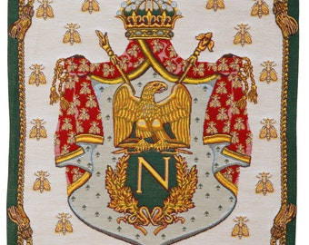 belgian wall tapestry hanging wall decor Royal crest Coat of arms Napoleon jacquard woven