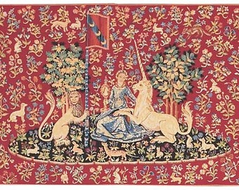 jacquard woven belgian gobelin wall tapestry The Sight Unicorn and lion on Millefleurs background and trees of life wall hanging wall decor