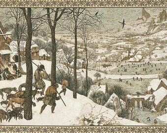 """Brueghel Painting Reproduction Tapestry- Hunters in Snow Tapestry - 26""""x44"""" Tapestry Wall Hanging - Fine Arts wall hanging tapestry"""