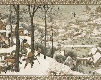 """Tapestry Wall Hanging  Pieter Bruegel - Hunters in Snow Tapestry - 26""""x44"""" Tapestry Wall Hanging - Fine Arts wall hanging tapestry - WT-171"""