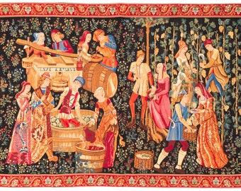 Medieval Wall Hanging Tapestry - The Vintage - Le Vendange - Millefleurs motif - Belgian Tapestry - Gobelin Wallhanging - Medieval Decor