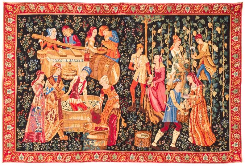 Medieval Wall Hanging Tapestry  The Vintage  Le Vendange  image 0