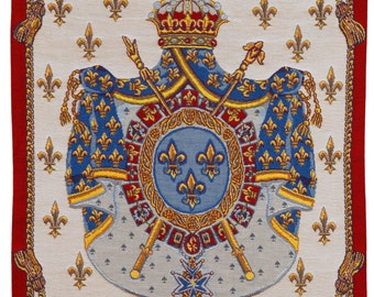 French Tapestry Wall Hanging - Coat of Arms wall hanging tapestry - Fleur de Lys wall decor - Royal crest Coat of arms -  jacquard woven