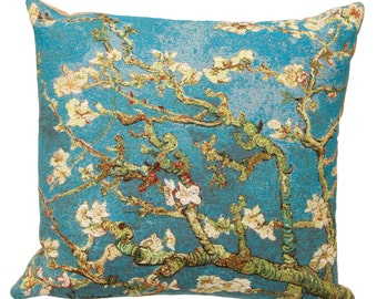 Van Gogh Pillow Cover - Almond Blossoms Pillow - 18x18 Belgian Tapestry Cushion Cover - Van Gogh Gift - Gobelin Museum Pillow - PC-6006