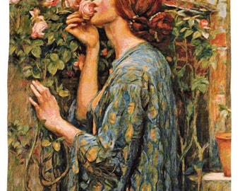 belgian wall tapestry hanging wall decor gobelin the Soul of the Rose by J.W.Waterhouse