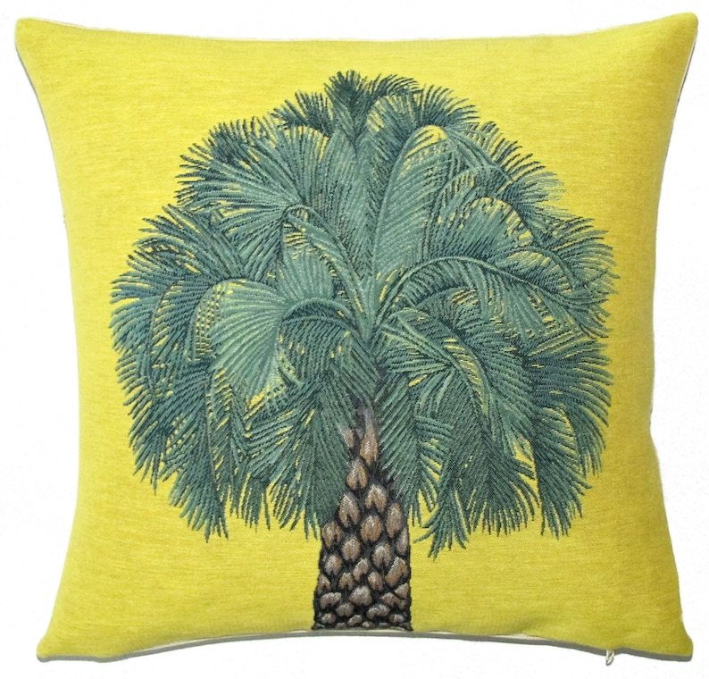 decorative  woven tapestry gobelin throw pillow cushion cover tropical pineapple tree yellow background PC-5641