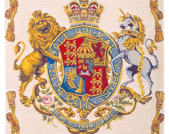Coat of Arms wallhanging - Heraldic Tapestry - Lion and Unicorn Crest - French English Chivalry Coat of Arms - Heraldic Decor