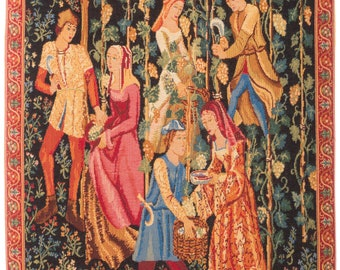 Medieval Wall Hanging Tapestry - Picking of the Grapes - Millefleurs motif - Belgian Tapestry - Gobelin Wallhanging - Medieval Decor