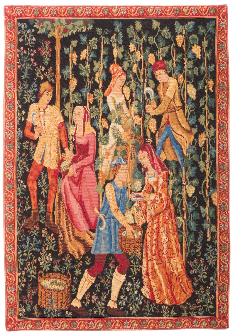 Medieval Wall Hanging Tapestry  Picking of the Grapes  image 0
