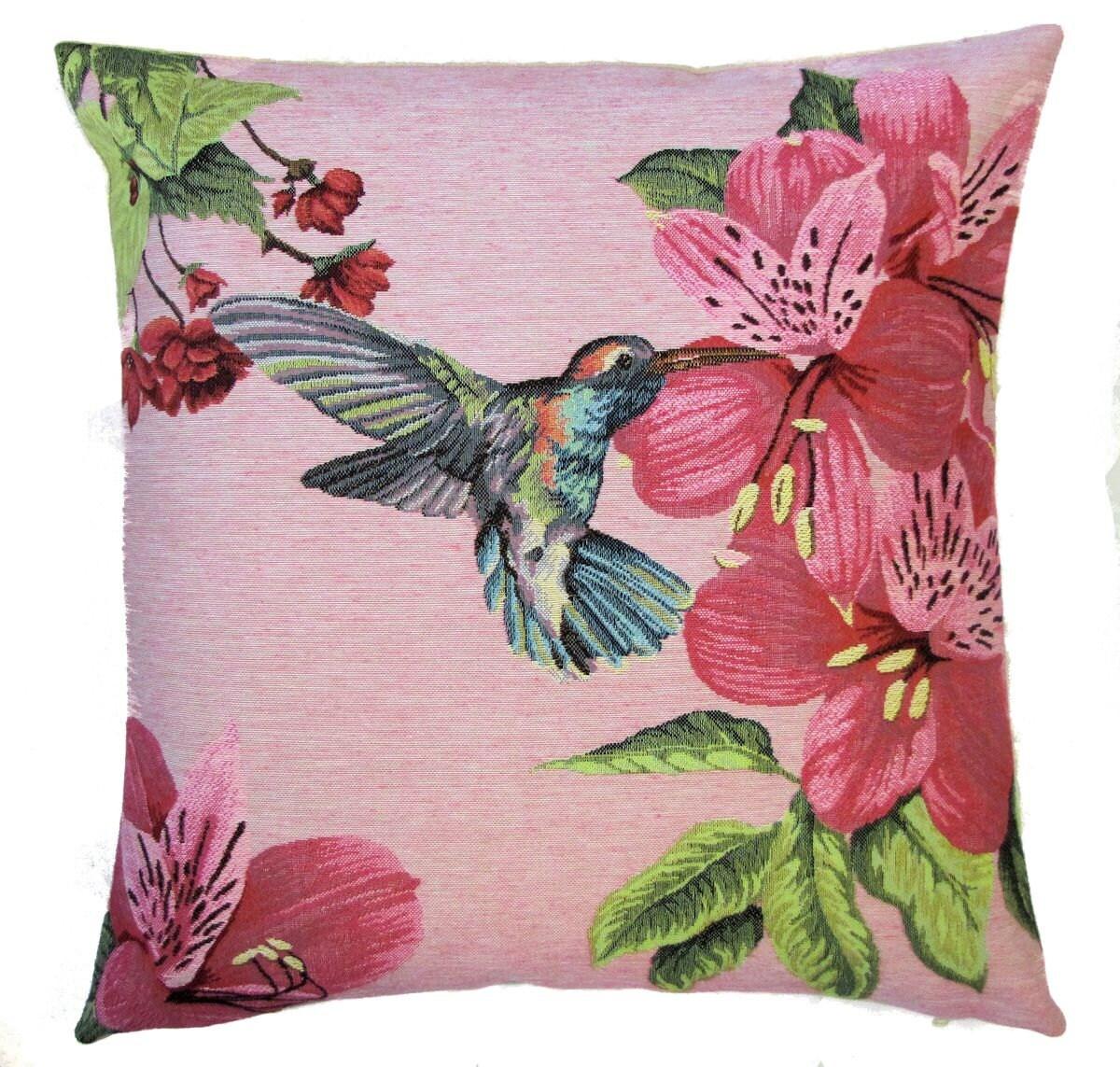 Hummingbird Pillow Cover Hummingbird Gift Pink Pillow 18x18