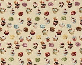 cupcake fabric - bakery fabric - gourmet fabric - jacquard woven fabric - quilting fabric - upholstery fabric - TF-9008