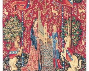 tapestry wall hanging Unicorn - belgian gobelin wall tapestry - The Hearing Lady and Unicorn - tree of life wall hanging - wall decor