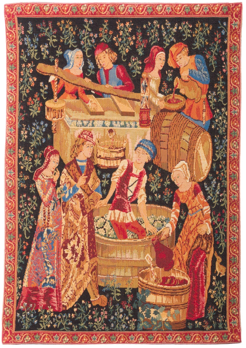 Medieval Wall Hanging Tapestry  Pressing of the Grapes  image 0
