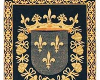 belgian gobelin chenille wall tapestry hanging Fleur de Lys St.Michael killing dragon with loops jacquard woven