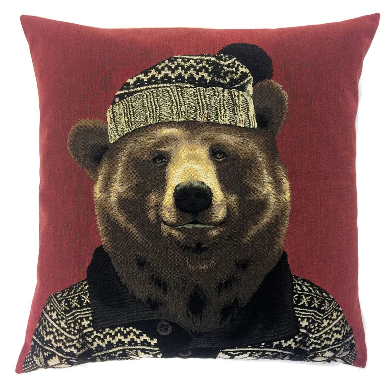Grizzly Bear Pillow Cover Quirky Lover Gift Dressed