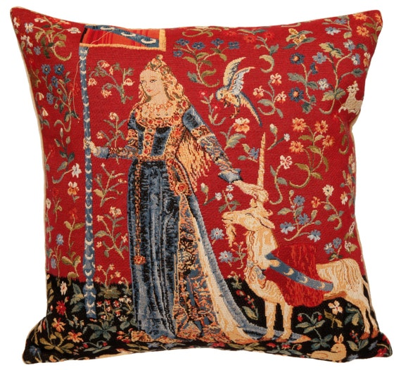 "Jacquard Weave Tapestry Pillow Cushion Cover Lady & Unicorn Home Decor Desire 18""x18 UK"