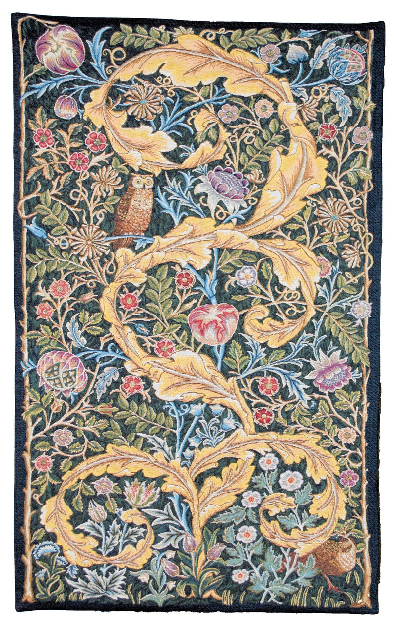 tapestry wall hanging Owl and Pigeon  William Morris wall image 0