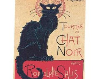 Chat Noir Poster Tapestry Wall Hanging - French Art Decor - Steinlen Art Gift - Black Cat Wall Hanging Tapestry