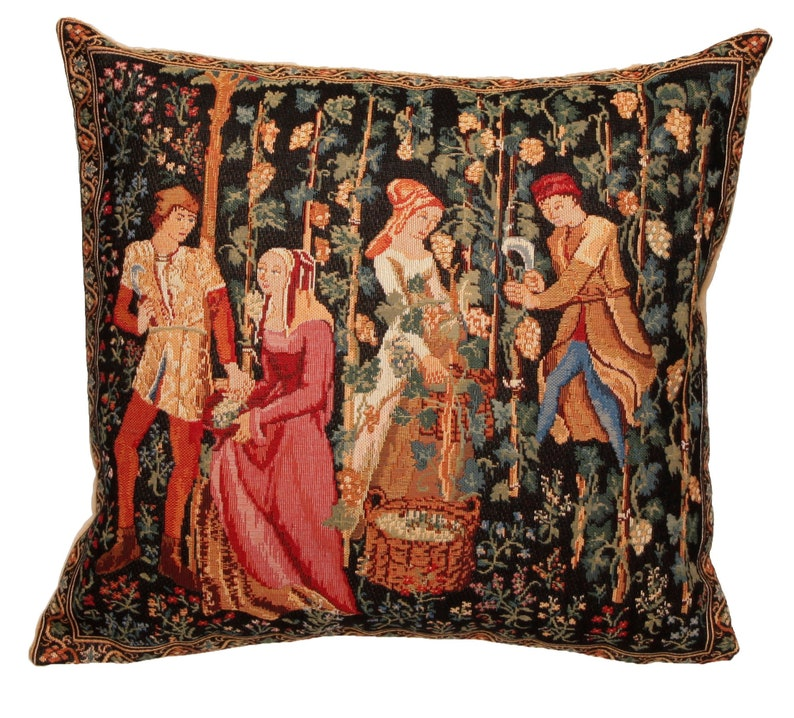 The Harvest Pillow Cover  Wine Harvesting Decor  Medieval image 0