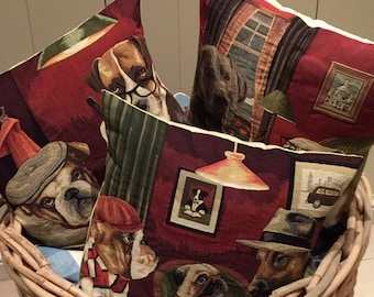 dog pillow covers - whimsical dog pillows - dog lover gift - dog decor - playing chess - playing poker - playing pool - decorative pillow