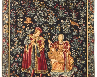 Medieval Tapestry Wall Hanging - Concert Scene - Millefleurs motif - Belgian Tapestry - Gobelin Wallhanging