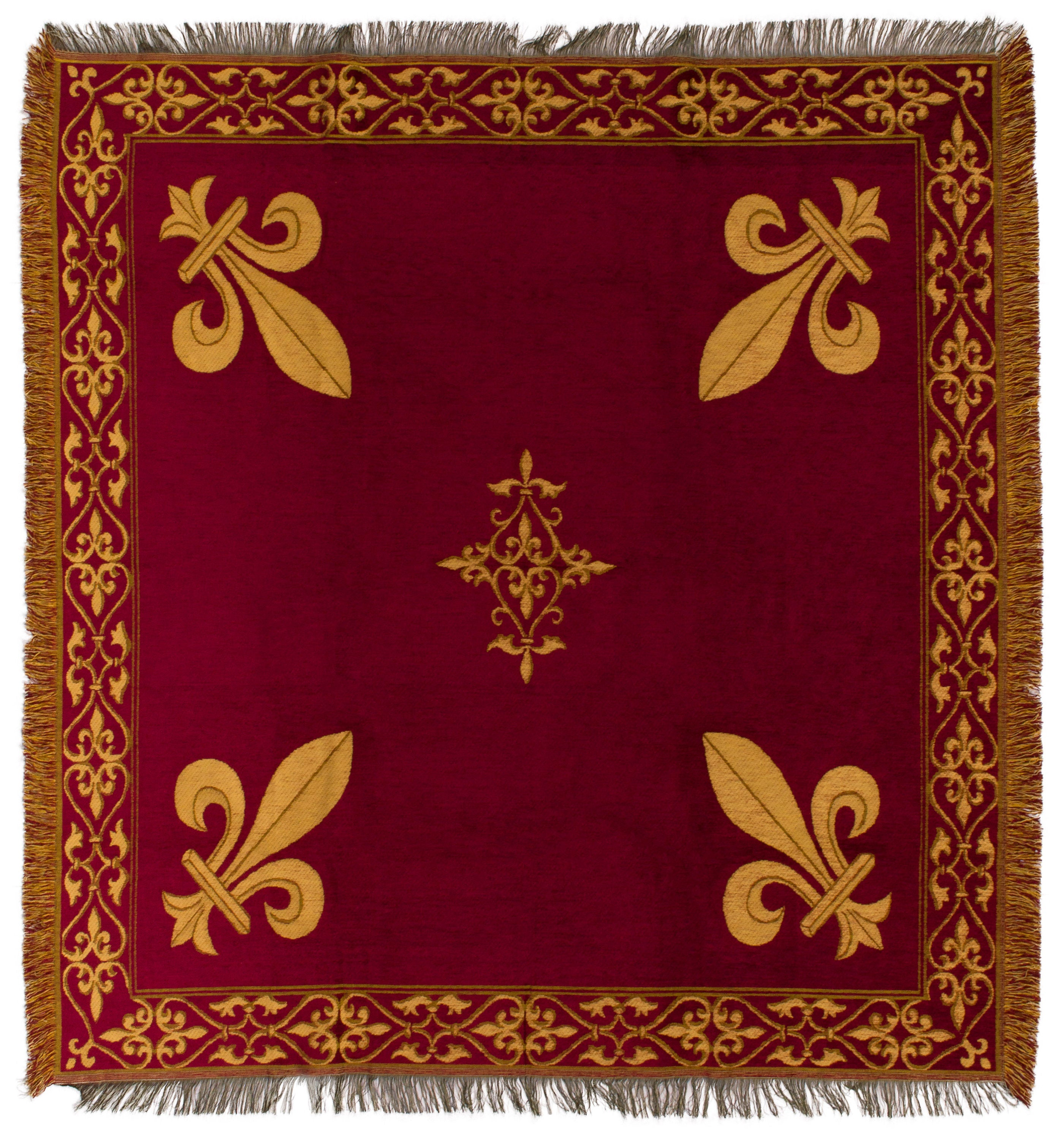 Fleur De Lys Tapestry Throw Red Chenille Throw Blanket