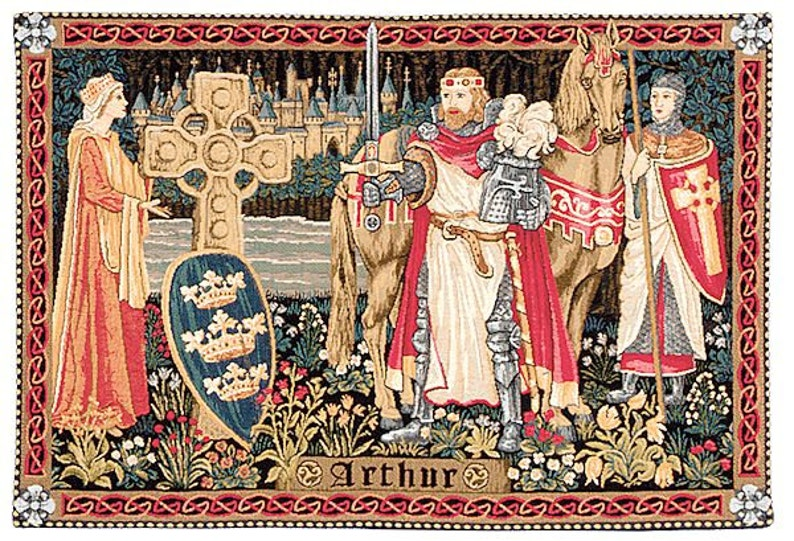 King Arthur Art  Medieval Tapestry  Medieval Wall Hanging image 0